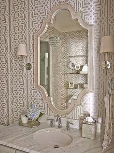 In Good Taste:Caroline Brackett - Design Chic Bad Inspiration, Bathroom Inspiration, Bathroom Ideas, Bathroom Renovations, Dream Bathrooms, Beautiful Bathrooms, Small Bathrooms, Bathroom Wallpaper Geometric, Powder Room Wallpaper
