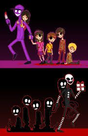 Purple guy and Marionette with kids and their souls   Cool!!!!