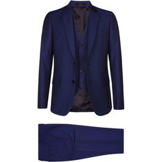 Paul Smith Wool-Mohair Three Piece Suit ($1,235) ❤ liked on Polyvore featuring men's fashion, men's clothing, men's suits, mens tan suit, mens shiny suits, mens blue 3 piece suit, mens wool suits and mens blue suit