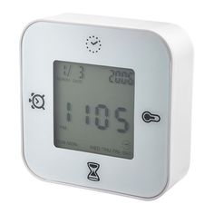 Don't own this, but I want it. I love all kinds of time pieces. This is a KLOCKIS Clock, thermometer, alarm/timer, white for about $4.99