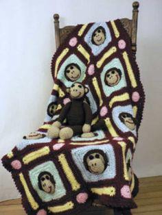 Monkey Face Afghan Crochet Blanket Free Pattern