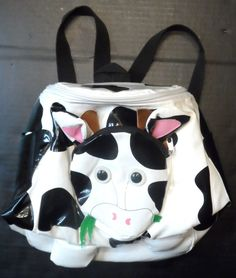 "$27.98/ Unisex Toddler Cow Backpack with Adjustable straps, front compartment, 2 side pockets and roomy interior.  By Kidorable, measures approx. 9.5"" long x 9.5"" wide. ~~see over 20 categories of merchandise in my store. I ship globally. www.shellyssweetfinds.com"