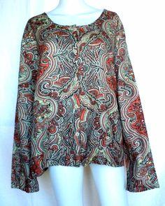 FLAX UNDERFLAX 2/3 Shirt, Coral Paisley Linen, Sleepwear / Blouse 3G (3X), NWOT #Flax #Sleepshirt