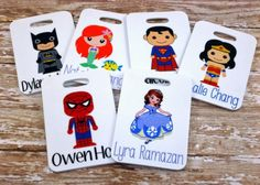 Set of 2 Personalized Super Hero Bag Tags by Purely Personalized. Perfect to get kids excited about their first trip (and encourage them to pack)!   Made on Hatch.co