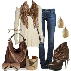 cream sweater, plaid scarf, rustic accessories, brown leather bag and boots...LOVE the Guess boots!