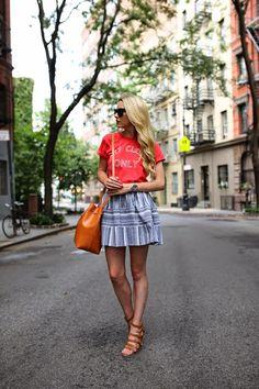 Top: Sincerely Jules. Skirt: Joa. Shoes: French Connection. Bag: Mansur Gavriel. Lips: Stila 'Beso'. Sunglasses: Prada.