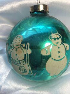 Vintage Shiny Brite Snowman Stencil Glass Christmas Ornament