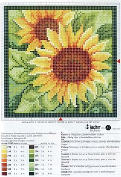 Sunflower cross stitch pattern and color chart.