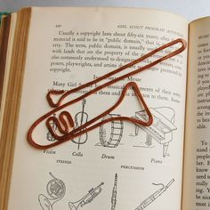 Copper trombone bookmark handmade from salvaged by TheSalvagedEdge