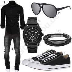 Black men's outfit with Amaci & Sons shirt and jeans with crinkle effect, Fossil men's wristwatch , large sunglasses, Fossil bracelet and Converse sneakers.  1. Shirt► amzn.to/2rrgSV6 2. Glasses► amzn.to/2ruuPki (-25%)  3. Clock► amzn.to/2ru7crP (-40%)  4. Jeans► amzn.to/2I0sQ2g (-44%) )  5. Bracelet► amzn.to/2rutB8J (-24%)  6. Shoes► amzn.to/2rsXDdv Mens Fashion 2018, Stylish Mens Fashion, Stylish Mens Outfits, Mens Fashion Suits, Fashion Hats, Fashion Rings, Fashion Ideas, Womens Fashion, Men's T Shirts