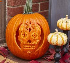 Sugar Skull Pumpkin Stencil for Halloween Pumpkin Carving Tools, Halloween Pumpkin Carving Stencils, Pumpkin Carving Patterns, Halloween Pumpkins, Pumpkin Painting, Halloween Skull, Vintage Halloween, Vintage Witch, Halloween Crafts