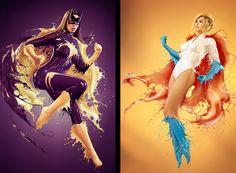 Modelos usam roupas feitas com tinta líquida e viram super-heroínas