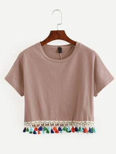 Shop Yellow Tassel Trimmed Crop T-shirt online. SheIn offers Yellow Tassel Trimmed Crop T-shirt & more to fit your fashionable needs. Diy Fashion, Fashion Outfits, Street Fashion, Diy Vetement, Yellow T Shirt, Yellow Top, Western Outfits, Diy Clothing, Crop Shirt