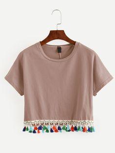 Pink Tassel Trimmed Crop T-shirt -SheIn(abaday)
