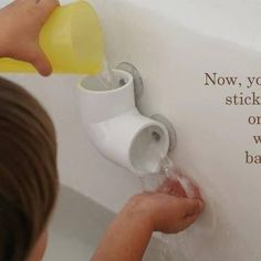 PVC pipe and suction cups make bath time more fun for little ones!!!