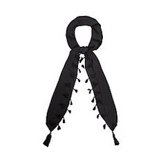Nine by Savannah Miller - Black tasselled skinny scarf