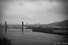 Black and White 3 canvas piece landscape photo  Portland, OR by LysBleuDesigns, $350.00