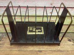 Vintage Record Rack  Metal Record Holder Lyric by theuglyottoman