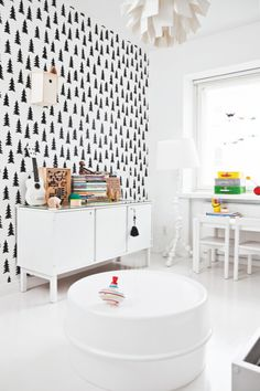Love the wallpaper-monochrome baby room child room black white nursery werner panton IKEA fine little day Black White Nursery, White Kids Room, The Design Files, Interior Stylist, Kids Room Design, White Houses, Home Interior, Interior Design, Interior Decorating