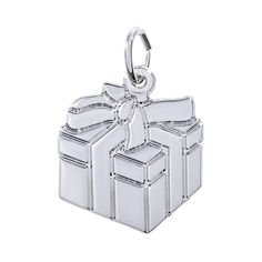 Rembrandt Gift Box Charm, Sterling Silver