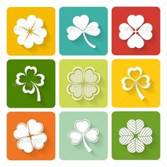 Set of Shamrock and Clover Icons  #graphicriver