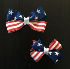4th of July Hair Bows (2 to choose from and can customize size) by CreationsByDMPN on Etsy