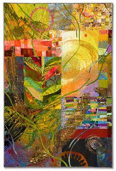 "Sue Benner.   WALKING THROUGH TIME IX  (VINE)   ______________________________  2010- 51.5"" x 34""   dye & paint on silk & cotton, found fabrics, fused,   mono-printed, machine quilted"