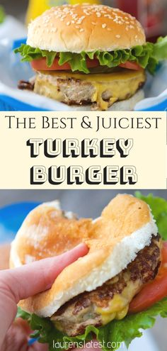 The BEST Juiciest Turkey Burger EVER – be it for a BBQ Party or a simple family dinner, these moist and juicy ground turkey burger patties will be gone within minutes! One secret ingredient takes these simple burgers over the top! Ground Turkey Burgers, Best Turkey Burgers, Grilled Turkey Burgers, Turkey Burger Recipes, Paleo Burger, Seasoning For Turkey Burgers, Best Turkey Burger Recipe Healthy, Simple Burger Recipe, Recipes For Ground Turkey