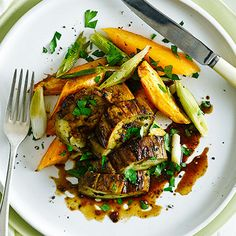 Miso-roasted Aubergine Steaks With Sweet Potato Recipe Main Course with eggplant, miso paste, sweet potatoes, sunflower oil, ginger, garlic cloves, Himalayan salt, spring onions, parsley leaves