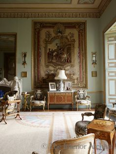 A corner of the Tapestry Drawing Room reveals the formal seating arrangement of the Louis XVI bergere chairs ~ Goodwood