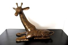Large Old Brass Giraffe Sculpture on Etsy, $650.00