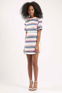 Topshop striped short-sleeve dress