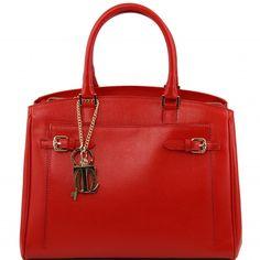 Rote kalbsleder Handtasche.2 KompartimentenInnenreissverschlussfachZentrales Kompartiment mit ReissverschlussAbnehmbare KeyLuck Kette -