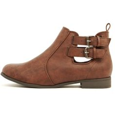 Isla Brown PU Cut Out Ankle Boots (48 PLN) ❤ liked on Polyvore featuring shoes, boots, ankle booties, botas, black, brown ankle boots, black cutout booties, black ankle booties, cut-out booties and short black boots