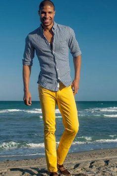 Blue shirt + yellow pants + beach background= Awesome photo