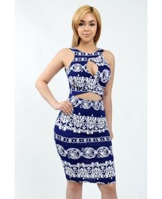 Sleeveless bodycon dress in detailed paisley pattern all over.  Cut-out, key hole and fabric crossed accent on the top.  V-cut back. Soft lining under the skirt.   Content: 95% Polyester 5%Spandex Package of 3 pieces: 1S, 1M, 1L per color only. Made in USA   - See more at: http://enewwholesale.com/c-26w99-2clr.html#sthash.dpfOtjZI.dpuf