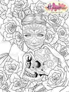 Digital Stamp - Sugar Skull Day of the Dead Catrina - digistamp - Las Calaveras - Fantasy Line Art for Cards & Crafts