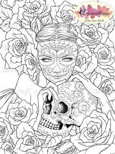 Digital Stamp - Sugar Skull Day of the Dead Catrina - digistamp - Las Calaveras - Fantasy Line Art for Cards & Crafts