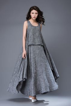 Gray Linen Dress - Layered Flowing Sleeveless Long Summer Dress with Scoop Neck Handmade Clothing C881 - would love this with sleeves