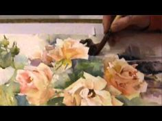 Ev Hales - Painting Roses in Watercolor, Stage 1 - YouTube