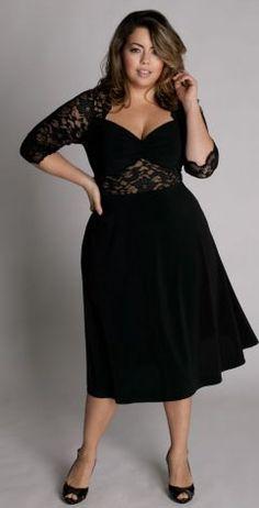 Nice Black Dress - Plus Size Fashion Plus Size Black Dresses, Plus Size Cocktail Dresses, Evening Dresses Plus Size, Plus Size Outfits, Ball Dresses, Cute Dresses, Dresses With Sleeves, Prom Dresses, Graduation Dresses