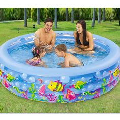 185cm*50cm round 3 annular children inflatable swimming pool – aststore17