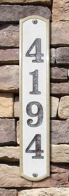 Piedmont Column Vertical Address Plaque House Sign Numbers wall Custom