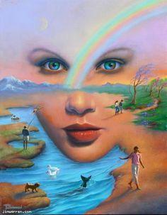 Artist Jim Warren Limited Edition Giclee on Canvas Illusion Kunst, Illusion Art, Fantasy Kunst, Fantasy Art, Jim Warren, Art Visage, Inspiration Artistique, Unusual Art, Airbrush Art