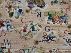 Fabric Shelf - Cosmo Japanese Retro Storytime Old Fashion Book Illustration Heavy Canvas Cotton Fabric Kawaii CR453