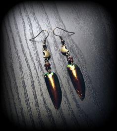 Crescent Moon Beetle Wings Earrings