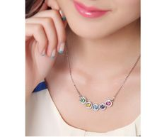 Colorful Round Crystals Pendant Necklace #jewelry #necklaces #silver #crystal #fashion #style #shopping #women