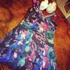 #Custo from Barcelona eccentric #minidress #embellished #floralprint #iridescent