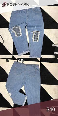Boohoo plus size denim jeans Ripped denim fishnet boyfriend jeans U.K. 24 us 20 Boohoo Plus Jeans Boyfriend
