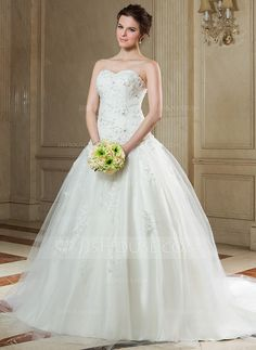 Wedding Dresses - $199.99 - Ball-Gown Sweetheart Chapel Train Tulle Wedding Dress With Ruffle Lace Beading (002011720) http://jjshouse.com/Ball-Gown-Sweetheart-Chapel-Train-Tulle-Wedding-Dress-With-Ruffle-Lace-Beading-002011720-g11720